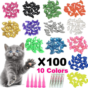 cat nail caps tips pet kitty soft claws covers 100 pieces