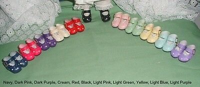 "Doll Shoes 12/""Shirley T 37mm Lt Cream Heart Cut for *Bleuette"