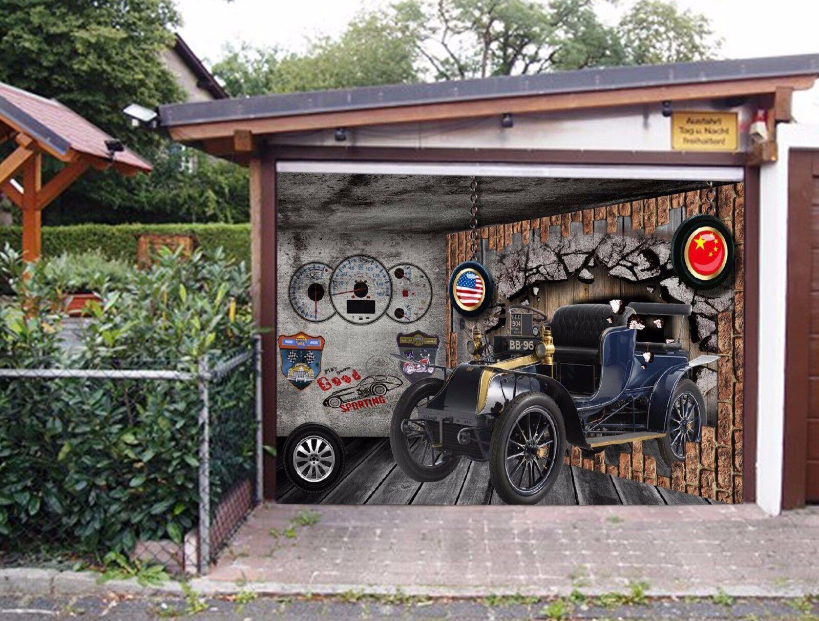 3D Flags Retro Car 43 Garage Door Murals Wall Print Wall AJ WALLPAPER UK Lemon