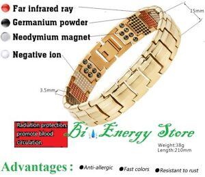 Energy-Bracelet-Gold-Health-ION-Stones-Bio-Armband-Health-TiTanium-Bio-Magnet