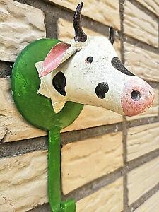 Metall-Haken-Kuh-Vintage-Rindvieh-Wandhaken-Garderobe-Kinder-Bunt-Cow-Hook