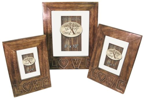 SET//3  /'LOVE/' PHOTOGRAPH FRAMES SOLID MANGO WOOD HAND CARVED PICTURE FRAMES