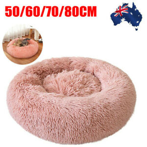 Pet-Dog-Cat-Calming-Bed-Warm-Soft-Plush-Round-Nest-Comfy-Sleeping-Kennel-Cave-AU