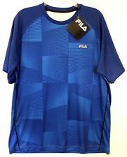 FILA Mens Blue Geometric Athletic Fitness Crewneck Shirt Size L