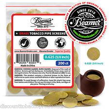"200 Beamer Brass Metal Tobacco Smoking Pipe Screens .625"" 5/8""Comp2 Glass, Steel"