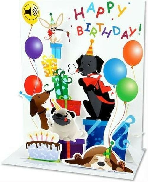 Mutt Dog Party Pop Up With Sound Birthday Greeting Card Ebay