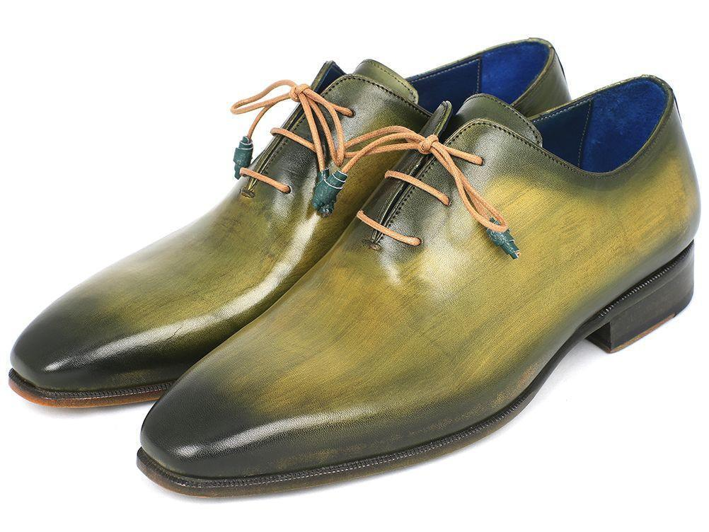 Men's Shoes - Paul Parkman Plain Toe Wholecut Oxfords Green Hanpainted Leather