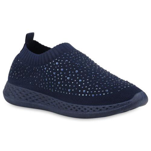 Damen Sportschuhe Slip On Fitness Sneaker Strass Laufschuhe Strick 897207 Top