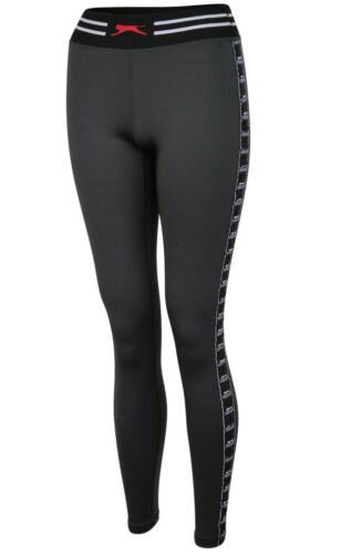 New Women/'s Ladies Slazenger Leggings Bottoms Tight Pants Gym Fitness Black Grey