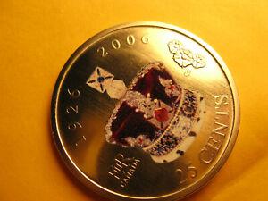 Canada-2006-Coloured-25-Cent-Coin-80th-Anniversary-Of-Queen-039-s-Coronation-IDJ313