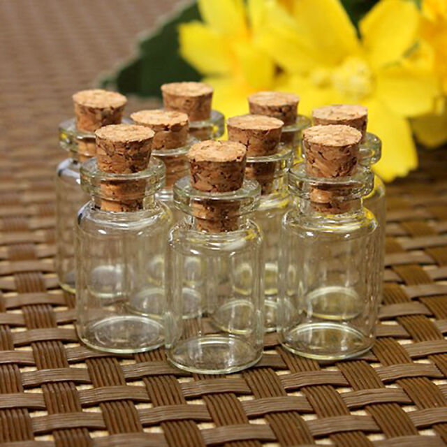 10 x CUTE MINI SMALL CORK STOPPER GLASS BOTTLES VIALS JARS New