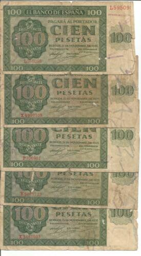 SPAIN 100 PESETAS 1936 P 101 VG-F CONDITION ONE NOTE 4RW 30 AGO