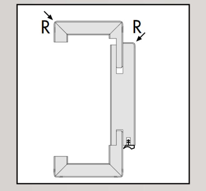 Ringo Türzarge CPL-Oberfläche Perlweiß Rundkante ( R2) Bekleidungsbr. 63 mm