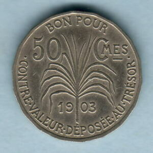Guadeloupe Gef/ef Trace Lustre Latest Fashion 1903 50 Centimes.