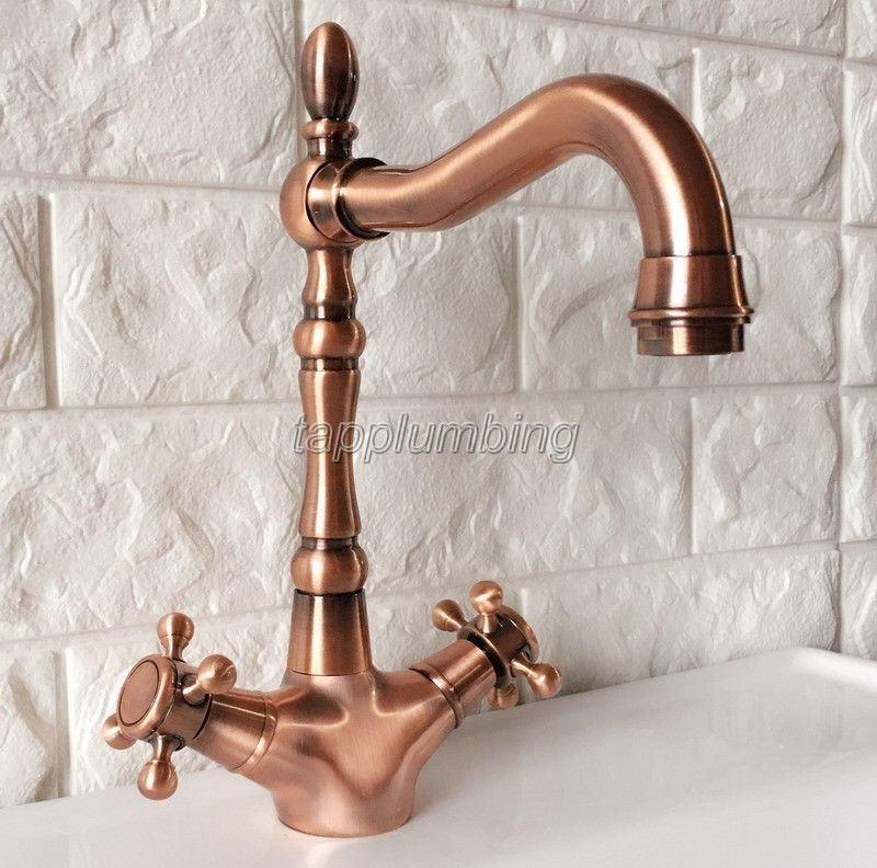 Antique Rouge Cuivre Pivotant Bec Verseur de salle de bain & cuisine robinet bassin évier robinets