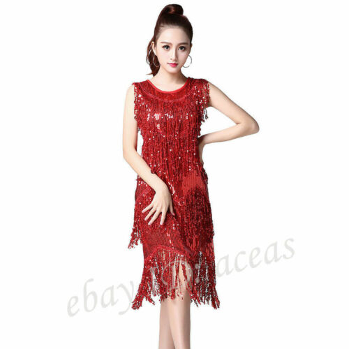 Details about  /NEW20s 1920s Flapper Dress Fancy Gatsby Charleston Dresses Sequin Dance Costumes