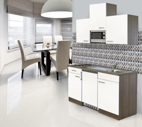 Miniküche Küche Küchenzeile Single Küchenblock 150 cm Eiche York weiß respekta