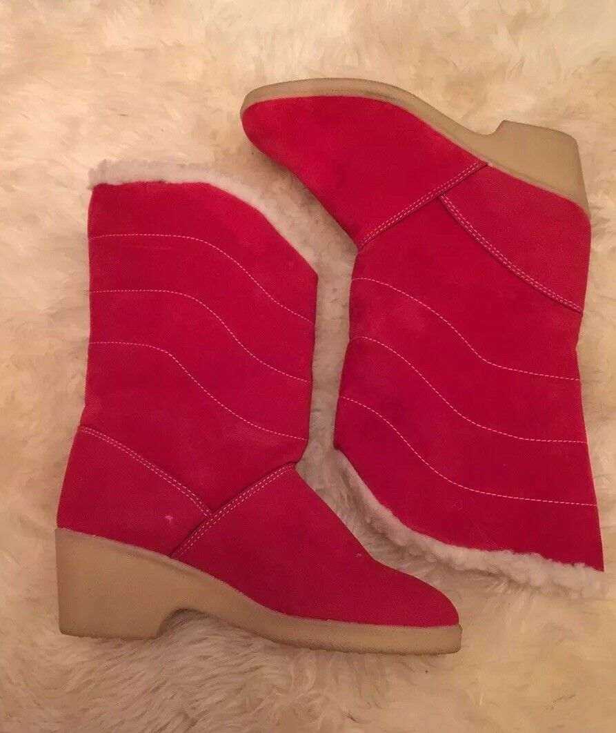 Beautiful Italian rouge, Synthetic Suede, Warmly Lined bottes Taille 5-vintage