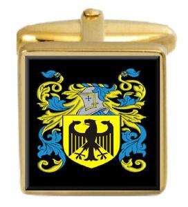 - Angleterre Famille Cimier Nom De Armoiries Or Boutons Manchette Gravé Boîte Mzvpngda-07232200-962450843