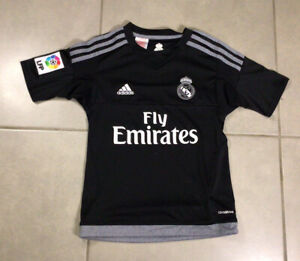 YOUTH-Real-Madrid-Jersey-2016-Third-Jersey-Kids-Sz-S-9-10Y-Shirt-Adidas-Black