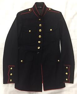 Usmc Marine Corps Dress Blues Uniform Coat Jacket Enlisted Size 39 L