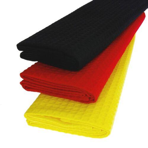 3x Torchon 100/% Coton Gaufre-piqué noir rouge jaune Allemagne foulards