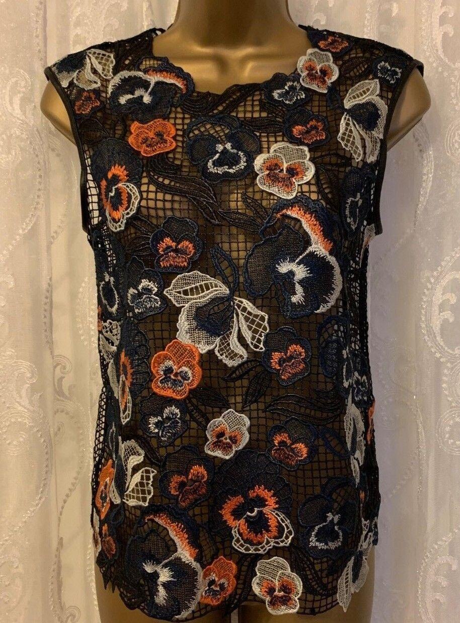 Karen Millen Multi Floral Tropical Embroidery Crochet Top Blouse Shirt