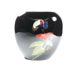 Otagiri Japan Hummingbird Hibiscus Flower Black Vase Gibson Greeting