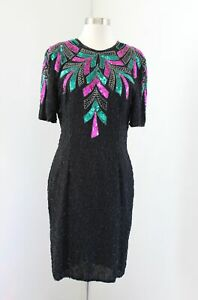 Vtg-Stenay-Black-Teal-Green-Pink-Silk-Beaded-Sequin-Cocktail-Party-Dress-Size-10