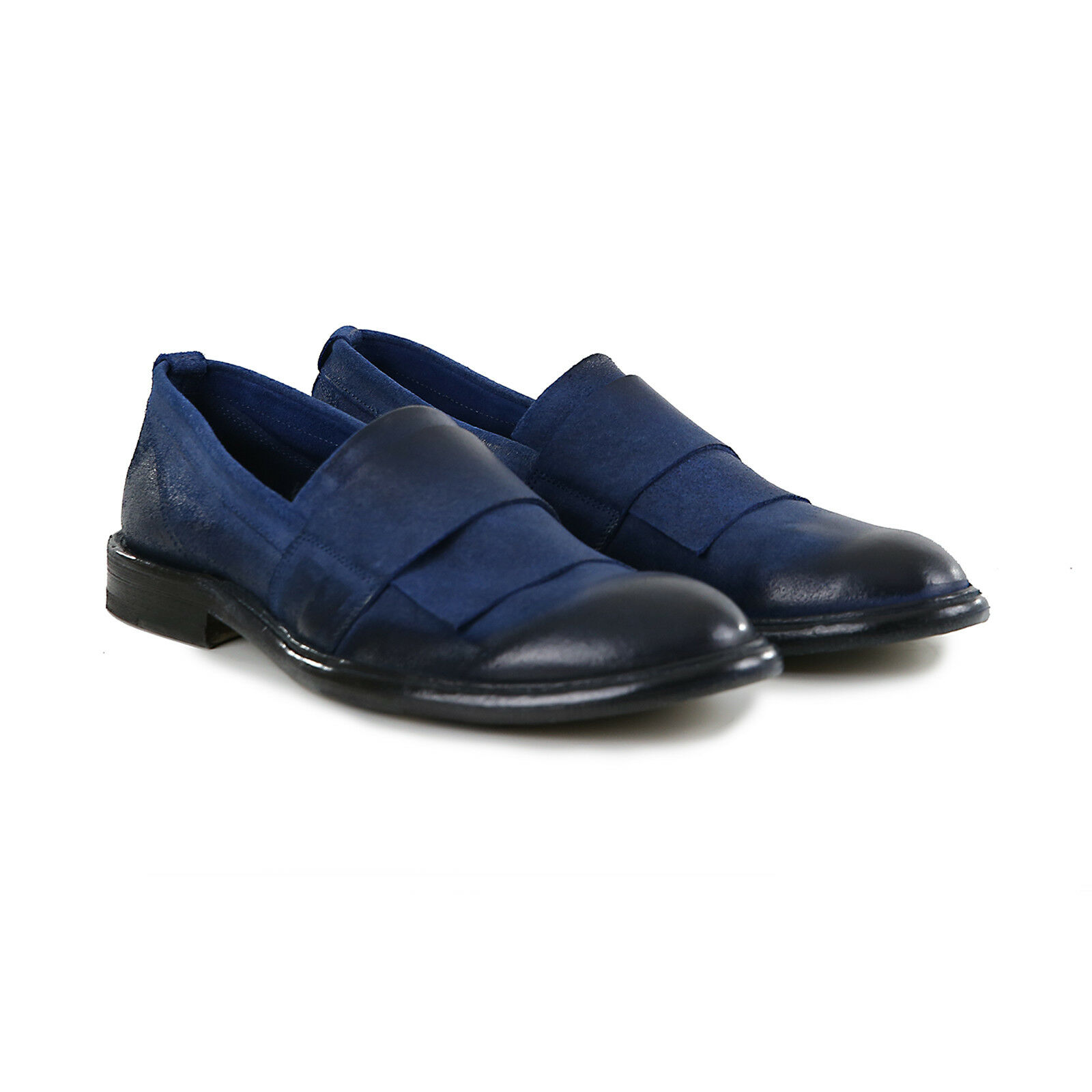 Mocassino men in Pelle in crosta cerata blue shoes Artigianali Made in