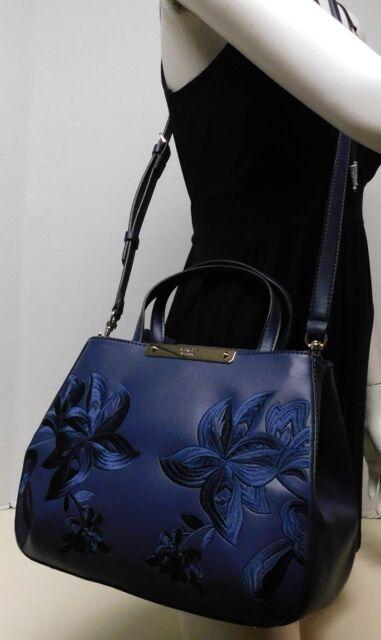 Guess Embroidered Floral Blue Crossbody Shoulder Bag Handbag Satchel Purse