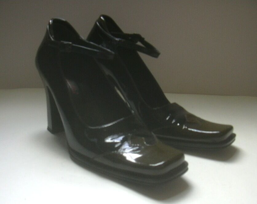 GREY MER PATENT LEATHER JANES MARY JANES LEATHER  HEELS SHOES  SZ  US  8  M 87c19f