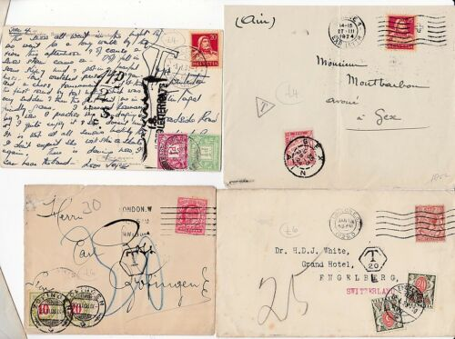 190831 2 COVERS & 2 CARDS TOFROM SWITZERLAND WITH POSTAGE DUES & TAXE MARKS