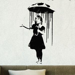 Banksy Nola Regen Girl Regenschirm Stempel,BILD wiederverwendbar WAND KUNST