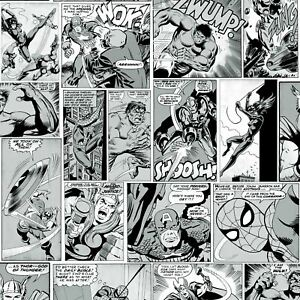 Marvel-Bd-Bande-Papier-Peint-Noir-et-Blanc-Muriva-159502-Captain-America