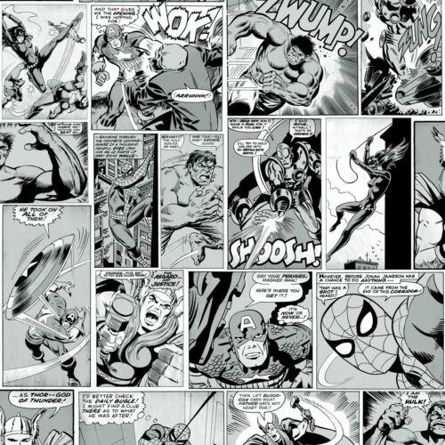 Marvel Bd Bande Papier Peint Noir et Blanc Muriva 159502 Captain America