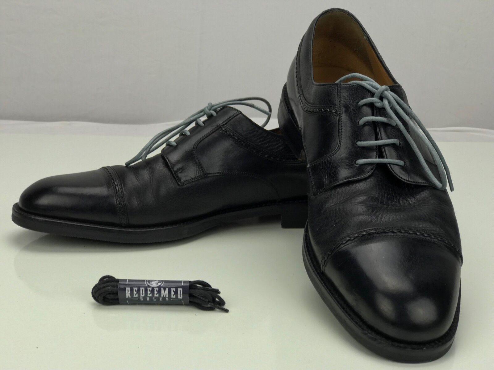 Sito ufficiale MEZLAN Cap Toe Deerskin Brogue scarpe - Lace Up nero nero nero Leather Oxfords Uomo 10 M  100% autentico
