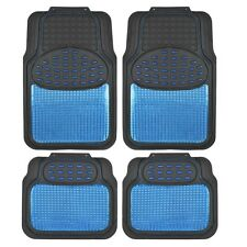 Car Rubber Floor Mats Blue Metallic Design on Black Heavy Duty Rubber