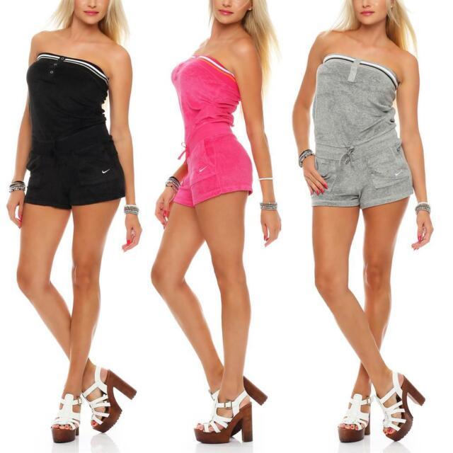 Women Bandeau Strapless Playsuit Jumpsuit Loose Boho Shorts Romper Mini Dress US