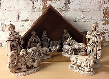 Atlantic Mold Ceramic Christmas Nativity Scene 12 Piece Rustic Manger