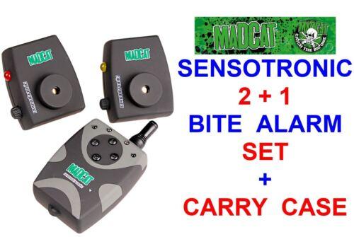 DAM MAD CAT SENSOTRONIC 2+1 BITE ALARM SET+CARRY CASE FOR COARSE CATFISH 1 2 ROD