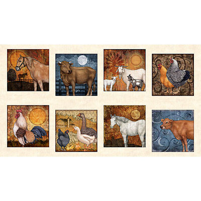 Farm Animal Cow Cattle Toss Golden Beige Cotton Fabric QT Bountiful By The Yard