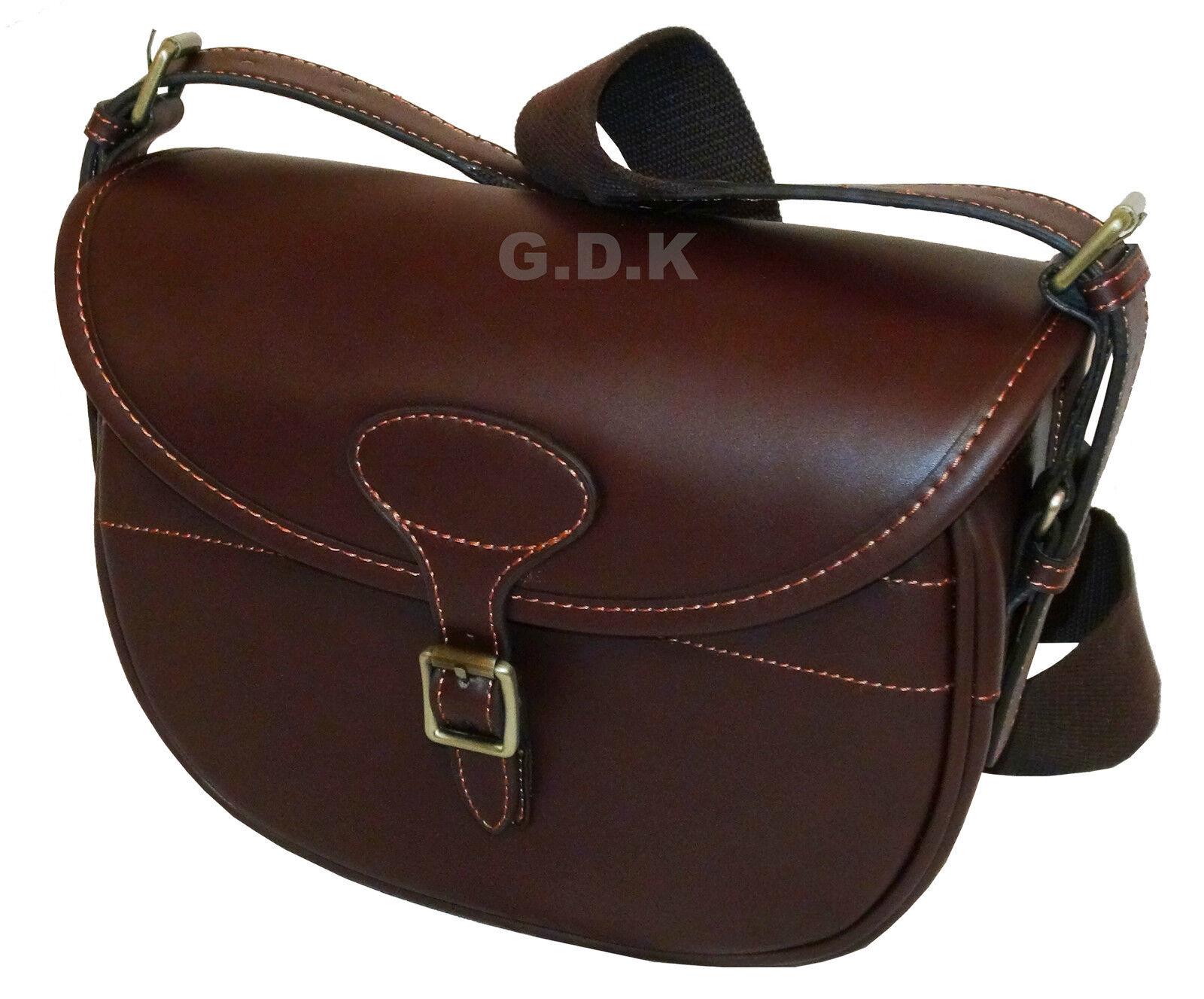 DARK BROWN GUARDIAN LEATHER CARTRIDGE BAG, POUCH, FOR 100-125 SHELLS,GUN ha075DB