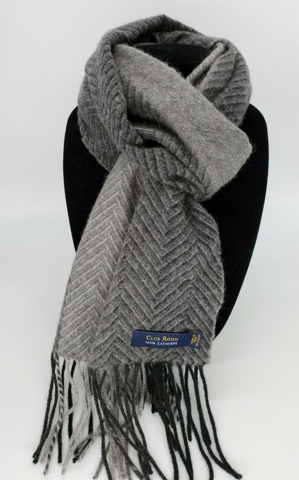 Club Room for Macy's Cashmere gray grey herringbone striped scarf 12