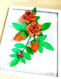 Details About 3d Origami Paper Rose Flower Wall Art Decoration Valentine Anniversary