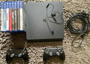 Sony PlayStation 4 Slim 500 Go Console avec 2 manettes et 9 jeux