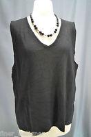 Linda Matthews Woman Knit 3x Light Sweater Top Black V Neck Rayon Cami Shell