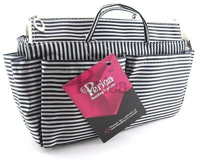 Periea handbag organiser, tidy, organizer,insert White And Black Stripes-Chrissy