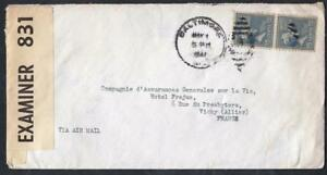 ETATS-UNIS-OLD-LETTER-WITH-CENSOR-BALTIMOR-TO-VICHY