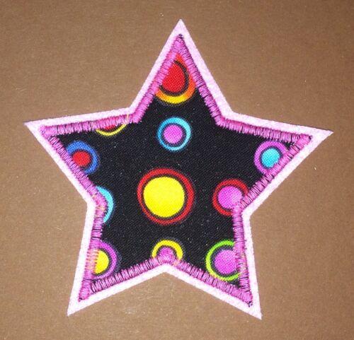 Applikation Aufnäher Patch Knieflicken Flicken Hosenflicken Sterne pink rosa
